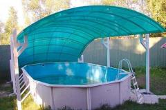 Навес из поликарбоната над бассейном