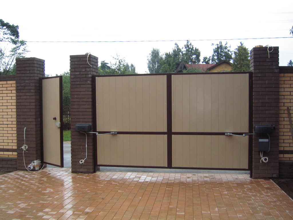 Ворота распашные металлические с калиткой фото своими руками