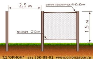 Забор из сетки рабицы №4