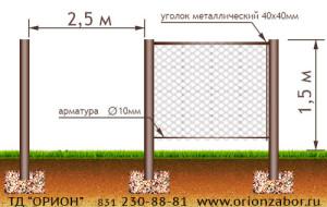 Забор из сетки рабицы №5