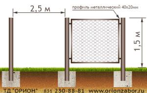 Забор из сетки рабицы №9